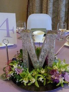 Quinceanera or Sweet 16 flower centerpieces Large monogram for centerpieces Quince Centerpieces, Quinceanera Centerpieces, Quince Decorations, Quinceanera Party, Table Centerpieces, Wedding Centerpieces, Wedding Decorations, Centerpieces For Sweet 16, Paris Theme Centerpieces