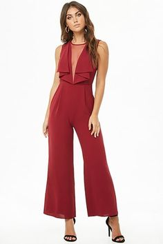 Illusion V-Neck Jumpsuit Western Formal Wear, Jumpsuit Outfit, Pant Jumpsuit, Cotton Jumpsuit, Professional Attire, Jumpsuits For Women, Fashion Dresses, Jumpers, Bridesmaid Jumpsuits
