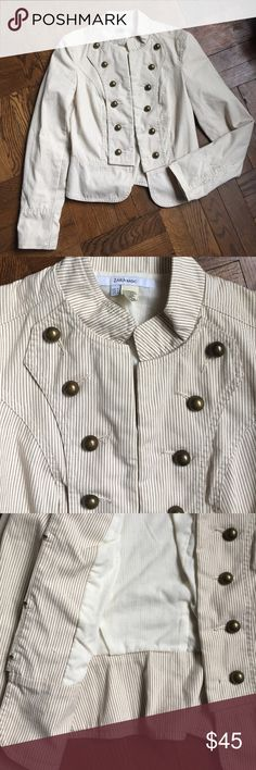 "Zara Military Jacket Stylish and easy. In excellent condition with no issues. Hook and eye closure and darted back. 17"" underarm to underarm and 21"" L. Fully lined. Zara Jackets & Coats"