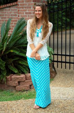 Caribbean coast outfit post featuring my new turquoise bauble necklace, lace top, and chevron skirt. creations by callie