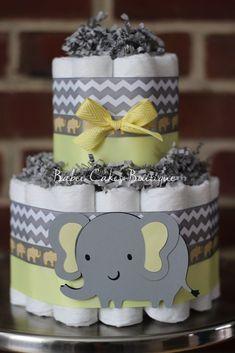 Mini 2 Tier Elephant Diaper Cake, Yellow Gray Elephant Baby Shower, Gender Neutral Baby Shower Centerpiece, Yellow Gray Grey Chevron Decor