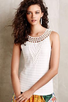 Aicha Embellished Tank - anthropologie.com  Like this top or the summer with maybe even the addition of a long drop necklace