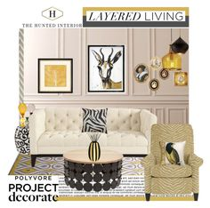 """""""Layered Living With The Hunted Interior"""" by anne-symanski-goranson ❤ liked on Polyvore featuring interior, interiors, interior design, home, home decor, interior decorating, Crate and Barrel, Ballard Designs, Jonathan Adler and Tom Dixon"""