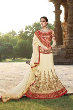 Picture of Enticing red & cream designer lehenga