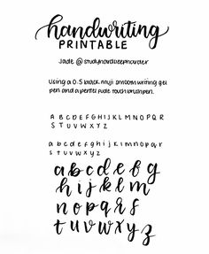 This is my first ever printable and i decided to do a handwriting one as requested one so i thought i would as this is clearer than my handwriting tag. It's not perfect as this is my first and i don't have a working scanner so i. Handwriting Examples, Pretty Handwriting, Handwriting Alphabet, Handwriting Styles, Handwriting Practice, Font Alphabet, Bullet Journal Notes, Bullet Journal Writing, How To Write Calligraphy