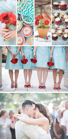 A+S: Colorful in Colorado. Red, white and baby blue color palette. {#wedding, daisy, gerbera daisy, colorful, cupcakes, wedding inspiration, real wedding}