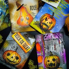 """Mary Browne on Instagram: """"ATC's done and ready to ship to @cwcrafts330 for the October swap.🎃 Whew! One day...I won't be so pokey and follow an actual schedule.…"""""""