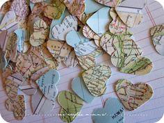 Vintage Atlas Heart Punchies/Confetti by onecrafteemumma on Etsy Destination Wedding Decor, Wedding Events, Our Wedding, Wedding Planning, Dream Wedding, Weddings, Fall Wedding, Around The World Theme, Going Away Parties