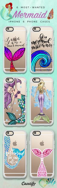 Top 6 Mermaid iPhone 6 protective phone case designs | Click through to see more iPhone phone case idea >>> https://www.casetify.com/artworks/2M2nMV2OJg | @casetify