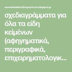 σχεδιαγράμματα για όλα τα είδη κείμένων (αφηγηματικά, περιγραφικά, επιχειρηματολογικά) Vocabulary Exercises, Grammar Exercises, Greek Language, Blog Page, Learning Disabilities, Exercise For Kids, Dyslexia, Comprehension, Classroom