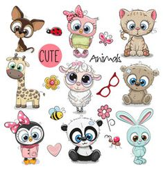 Set of Cute Cartoon Animals. Set of Cute Animals on a white background royalty free illustration Cartoon Drawings Of Animals, Owl Cartoon, Cute Cartoon Animals, Cute Animal Drawings, Cute Drawings, Cute Animals, Cartoon Mignon, Art Mignon, Cute Animal Illustration