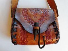 Purse Tooled Leather Vintage 1970's Gypsy Boho Hippie Bag