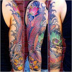 Koi Fish Sleeve Tattoo by Custom Tattoos by Adam Sky, San Francisco, California