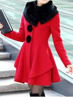 Stylish Long Sleeves Solid Color Faux Fur Collar Wool Coat For Women