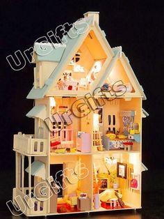 Dollhouse Miniature DIY Kit w Light Colorful Mood LARGE | eBay