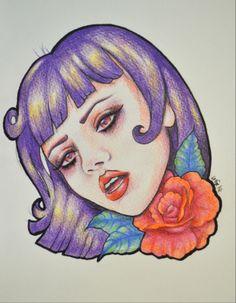 Mel Clarke by Lady Gabe - #rosetattoo #rosedrawing #prismacolor #purplehair
