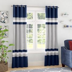 Andover Mills Reedsville Room Darkening Window Curtain Panels Curtain Color: Navy