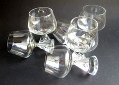 6 Princess iconic crystal cognac or brandy glasses designed 1957 by Bent Severin and made by Holmegaard's Glasvaerk. Price is per 6. by SCALDESIGN on Etsy