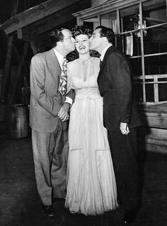 Phil Silvers, Rita Hayworth, and Gene Kelly - Behind the scenes of Cover Girl (1944)