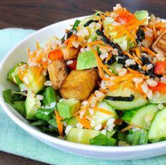 Deconstructed Sushi Salad - Great vegan salad version of sushi #recipes #vegetarian