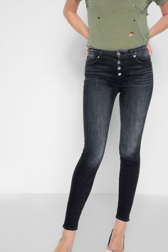 various colors 4e78b 54e30 7 FOR ALL MANKIND High Waist Skinny with Exposed Button Fly in Authentic  Black.