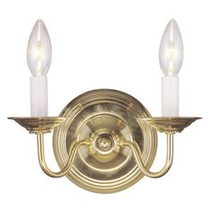 RV - Williamsburg Polished Brass Two-Light 9-Inch Wall Sconce