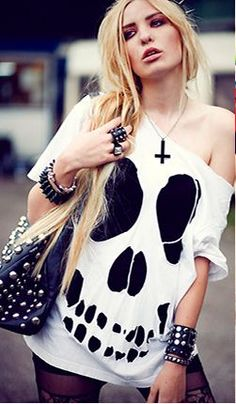 Studs and skeleton cut out shirt with a leather bag :D