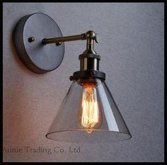 90 V - 265 V AC E27 Edison ampoule incluse bas verre abat - jour applique lumières moderne loft ikea appliques murales cuivre decoracao