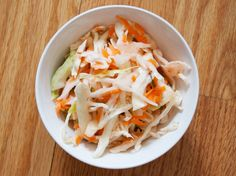 Quick Curtido (Mexican Cabbage Slaw) -- i used a bag of coleslaw mix, a bag of broccoli cole slaw mix, and a little more vinegar. made the night before. perfect.