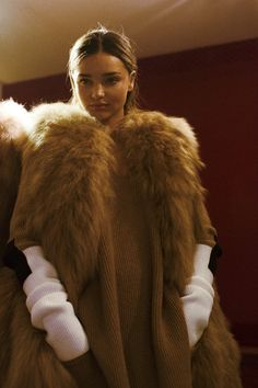 Caramel fur layered over ribbed knitwear at Sonia Rykiel AW14 PFW. Shot by Lea Colombo. More images here: http://www.dazeddigital.com/fashion/article/19074/1/sonia-rykiel-aw14