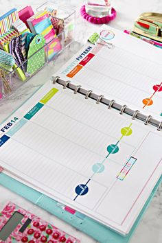 Keep your days organized with this happy and colorful January 2015 - December 2015 daily planner printable, which you can instantly download and