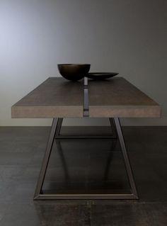 Contemporary masculine minimalist interior design home deco brown table Steel Furniture, Table Furniture, Modern Furniture, Futuristic Furniture, Plywood Furniture, Furniture Stores, Furniture Plans, Kids Furniture, Bedroom Furniture