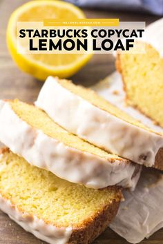 lemon bread If you love the lemon desserts - then you need to try this Starbucks Copycat Lemon Loaf! Its buttery, moist, bursting with flavor, and topped with sweet lemon glaze! Loaf Recipes, Pound Cake Recipes, Baking Recipes, Recipes With Cake Flour, Recipes With Milk, Banana Bread Recipes, Baking Tips, Coffee Recipes, Muffin Recipes