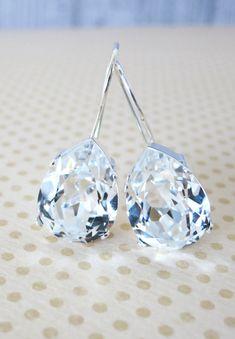 Simple Swarovski Crystal Teardrop Earrings, Clear Crystal Earrings, Silver plated, brides bridesmaid bridal simple earrings,  by GlitzAndLove on Etsy,www.glitzandlove.com
