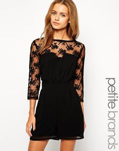 Little Mistress Petite Lace Insert Playsuit