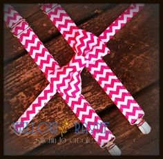 Boy's Bow Tie and Suspenders in Raspberry Pink Chevron by WillowRayneDesigns, $32.95