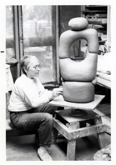 Betty Feves working in her studio, c. 1980 Photo by: Courtesy of the Feves Family