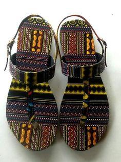 Ladies African Print Flip Flops