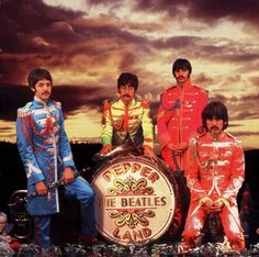 30th March 1967. The Beatles in their Sgt Pepper outfits at Michael Cooper's studio.