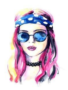 mistakeann.com  watercolor, painting, art, ecoline, illustration, fashion girl, hippy, rock'n'roll, pink hair