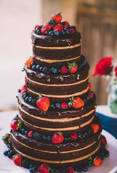 Sugar Kneads Cakery, GA #chocolate #wedding #cake #berries #naked #cake #icing #red #blue #rich #delicious