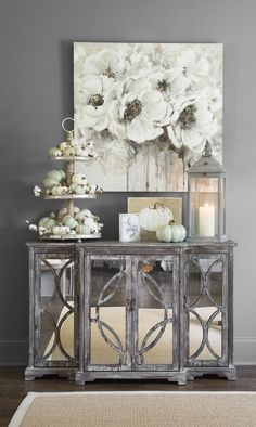 Make your entryway magical with rustic fall decor. Make your entryway magical with rustic fall decor. Mirrored Sideboard, Sideboard Decor, Rustic Sideboard, Rustic Fall Decor, Fall Home Decor, Hallway Decorating, Entryway Decor, Decoration Buffet, Decorations
