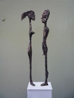 Bronze Nude or Naked Couples or Lovers #sculpture by #sculptor Isabelle Biquet titled: 'Petit couple' #art