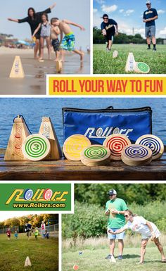 Tired of the same old yard games? Try Rollors which combines elements of bocce ball horseshoes into one game. Summer Camp Games, Beach Games, Camping Games, Outdoor Yard Games, Backyard Games, Outdoor Fun, Family Game Night, Family Games, Outside Games