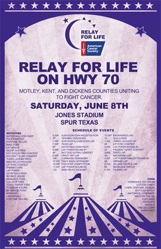 Relay For Life Carnival Theme Poster - relaywallpaper.blogspot.com. Donald Mcarthur created this for his town's Relay - great idea!