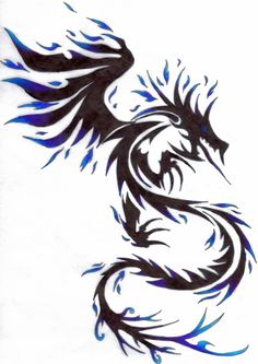 Blue Fire Dragon Tribal Tattoo Design By Kitsune Lunar Rose