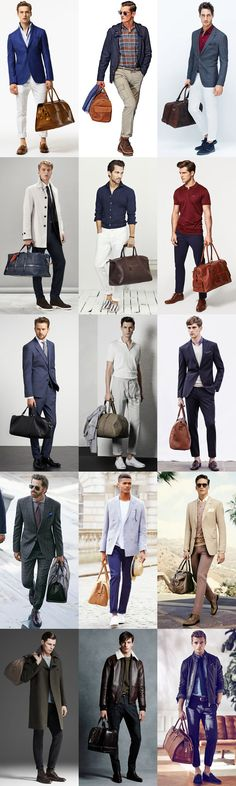 Men's Leather Holdalls Outfit Inspiration Lookbook