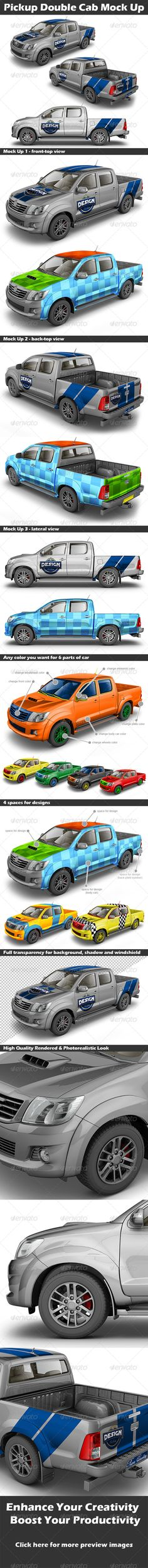 Pickup Double Cab Mock Up — Photoshop PSD #bakkie #cab • Available here → https://graphicriver.net/item/pickup-double-cab-mock-up/4564263?ref=pxcr