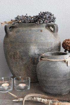 Shabby chic home accessories Wabi Sabi, Rustic Charm, Rustic Style, Rustic Decor, Olive Jar, Vibeke Design, Keramik Vase, Home And Deco, Clay Pots