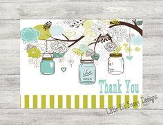 Mason Jars Notecards Thank You Folded Customized by LittleBitSassy, $8.00